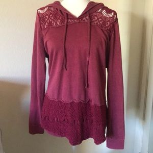 Maurices crochet lace cutout pullover hoodie